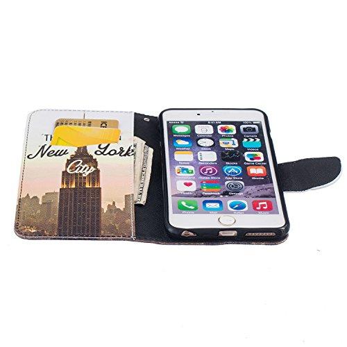 SKYXD für iphone 6 Plus / 6S Plus Hülle Leder Leopard Muster Folio Klappbar Handy Tasche Schutzhülle [Magnet / Brieftasche Kartenfach / Standfunktion] Klapphülle mit [Handyanhänger + Eingabestift] Zub Design 03