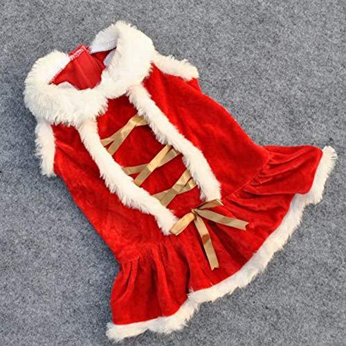 OUYAWEI Roter Rock Weihnachten Hundebekleidung Santa Doggy Kostüme Kleidung Haustier Bekleidung Weihnachten Cosplay XS (Santa Rock Kostüm)