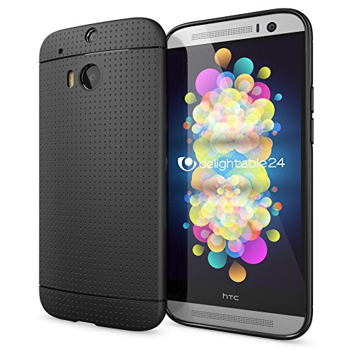 NALIA Coque Silicone Compatible avec HTC M8 M8S, Ultra-Fine Housse Protection Mince avec Points, Incassable Etui Maille Slim Cover Flexible Anti-Choc Case Résistant Bumper Souple Facile - Noir