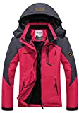 Mochoose Women's Outdoor Mountain Waterproof Windbreaker Fleece Ski Snow Hooded Jacket Sportwear Rain Coat Camping Fishing Hunting Working Jacket(Rose Red,L)