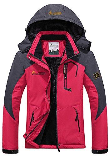 Mochoose Damen Outdoor Mountain Wasserdichte Windbreaker Jacken Fleece Ski Snowboard Kapuzenjacke Sportbekleidung Regenmantel Camping Angeln Jagd Arbeitsjacke(Rose (80er Jacken Jahre Windbreaker)