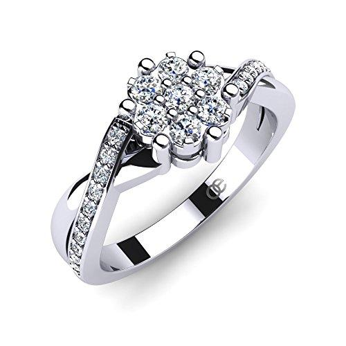Moncoeur Damen-Ring Rose Verlobungsring 925 Sterling Silber Mit Zirkonia Swarovski Silber Verlobungsringe Gr. 52