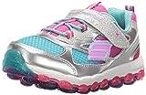 Skechers Kids Girls' Skech-Air Ultra-Bity Bubbles Running Shoe, Silver/Pink/Blue, 6 M US Toddler