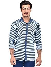 Redknee Men's Striped Cotton Denim Shirts