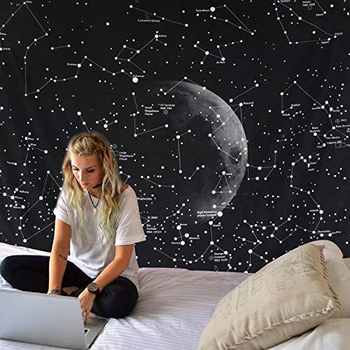 """Dremisland Indisch Hippie Bohemian Mandala Wandteppich Wandbehang Tapisserie schwarz für Wohnzimmer Schlafzimmer Wohnheim Dekor (Konstellationen Karte, L / 148 X 200 cm(58\"""" X 79\""""))"""
