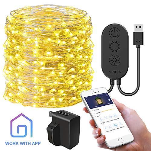 Guirnalda de luces estrelladas con control de aplicación, luces de alambre de cobre Govee Fairy, interruptor de temporizador de 8 modos, luz de hada impermeable (blanco cálido) para fiestas de Navidad