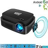 C-TK Tragbarer HD 1080pLED-Projektor, 3500 Lumen Niedrigeräusche WiFi-Anschluss Android 6.0 Bluetooth 4.0, kann auf das Internet zugreifen, Spiele Spielen, 3D-Filme