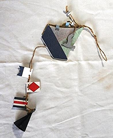 Shabby Chic Wooden & Metal Rustic Nautical Blue Boat & Flag 43cm Garland Hanging Decoration