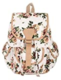 #8: Crafts My Dream Women's Backpack Handbags Beige Rose Print Cmd176