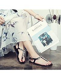 Bohemia sandalias de verano de estudiantes de colegio femenino wild sujetador sandalias planas clip femenino-marea...