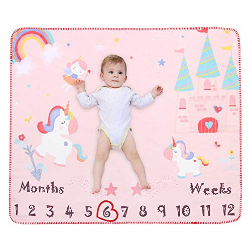 Mensile coperta neonato copertina neonati pile bambino regalo neonato super morbido e soffice materiale antiallergico rosa 120 * 100cm (unicorno)