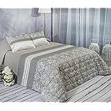 Algodón Blanco Pauleta - Colcha bouti jacquard, para cama de 135 cm, 235 x 270 cm, 2 fundas de cojín, 60 x 40 cm, color gris