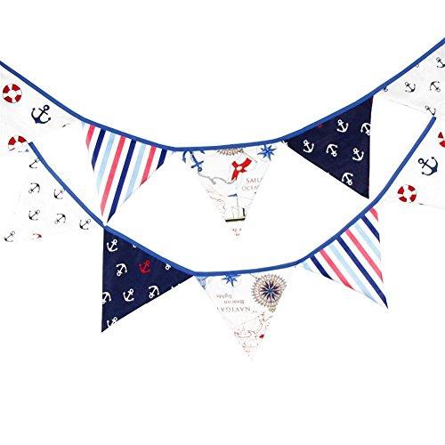 baifeng 12Flaggen 3,2m blau Stoff Banner Piraten Wimpelkette Pennant Flagge Girlanden Decor Hochzeit Weihnachten Geburtstag, Baby Dusche Foto Requisiten Pennant, Raum Dekoration Girlande (Piraten-baby-dusche Dekorationen)
