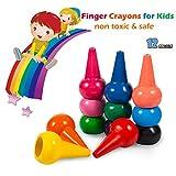 Tian Heng Finger Wachsmalstifte Kinder, 12 Farben Wachsmalstifte Leinkinder Ungiftig, Palm Grip Färbung Wachsmalstifte für Kleinkinder, Babys, Kinder, Jungen, Mädchen, stapelbar Spielzeug
