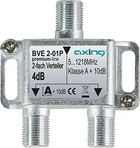Axing BVE 2-01P 2-fach Verteiler Kabelfernsehen CATV Multimedia DVB-T2 Klasse A+, 10dB, 5-1218 MHz metall