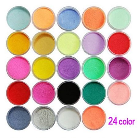 SODIAL(R) 24 Couleurs de Poudre acrylique pour la decoration de l'art d'ongles