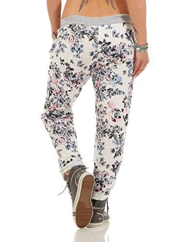 ZARMEXX Damen Sweatpants Baggy Hose Boyfriend Freizeithose Sporthose All-Over Roses Print One Size Floral 5