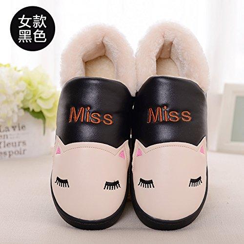 DogHaccd pantofole,La sig.ra Inverno paio di pantofole di cotone di spessore soggiorno nella bella eleganti scarpe antiscivolo pantofole caldi maschio Pelle nera4