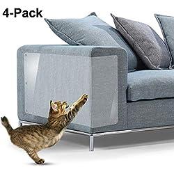 """Protectores contra rayones para muebles, 4 paquetes X-Large Protectores protectores de sofá de vinilo flexible superior con pasadores para proteger sus muebles tapizados, 18 """"L X 12"""" W"""
