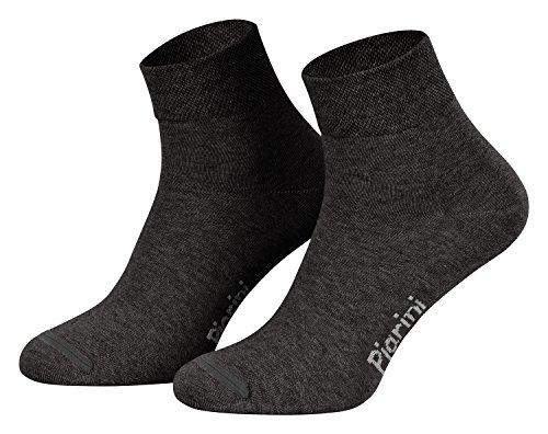 Piarini 8 Paar kurze Socken Kurzsocken Quarter Socken für Damen Herren Kinder | dünn, ohne Gummibund | anthrazit 47-50