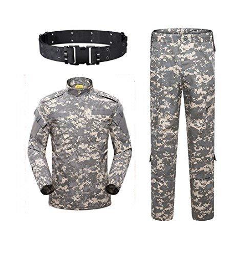 SGOYH Herren Combat BDU Uniform Jacken Shirt & Hosen Taktisch Airsoft Paintball Camo-Anzug mit Gürtel für Jagd Schießen Kriegsspiel Armee Militär Paintball Airsoft -