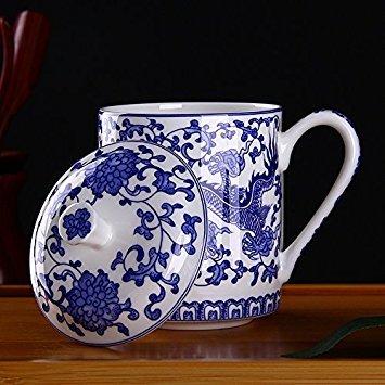Tasse À Thé Bleue Dragon Peinte À la Main, Jingdezhen Tasse À Thé en Porcelaine Bleue et Blanche avec Couvercle, pour Ménage, Bureau, 500ml