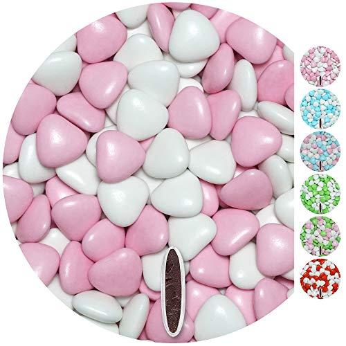EinsSein Schokoherzen MIX 1kg weiß-rosa gl. Gastgeschenke Hochzeitsmandeln Dragees