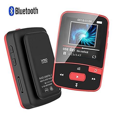 CFZC Bluetooth-Player, 8GB, MP3/ MP4, hohe Klangqualität, für Sport, mit Clip und FM-Funktion, Schrittzähler