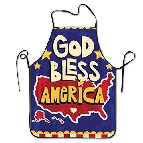NORSGT God-Bless-America-Garden-Flag Schürze, Unisex Küche Lätzchen Schürze mit Verstellbarem Hals für Kochen Backen gardening-28* 53,3cm