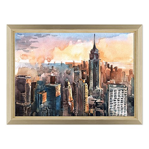 Bild auf Leinwand Canvas – Gerahmt – fertig zum Aufhängen – Manhattan NY New York – Zeichnung Aquarell Digitaler Dimensione: 70x100cm E - Colore Legno Naturale Design