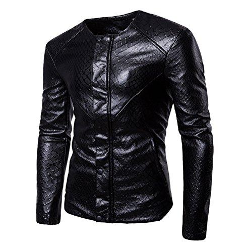 Zhuhaitf Uomo Casuale PU Pelle Cappotto Giacca Moto Rivestimento del Motociclo Giacca a Vento manica lunga Black-2