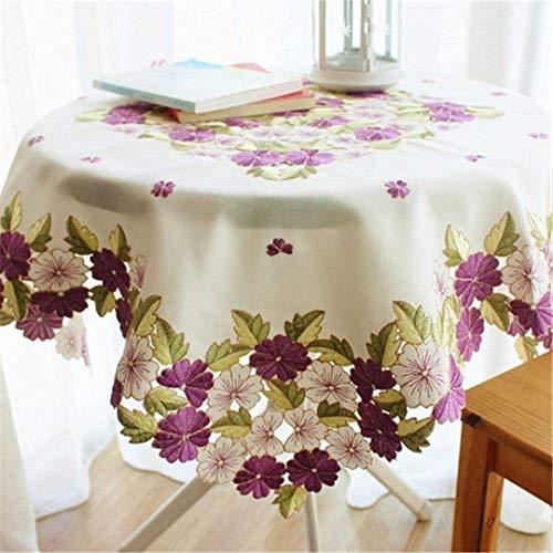 BAHDLES Romantische lila Floral Tischwäsche, Elegante Blumen bestickte Tischplatte, Weihnachten Tischdekoration 175cm in Round -