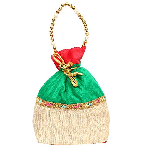 Bagaholics Ethnic Clutch Silk Potli Batwa Pouch Bag with Metal Beadwork (Green)  available at amazon for Rs.199