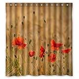 Wunderschöne Poppy Blumen Field, Badezimmer Polyester-Schimmelfest-167,6cm (W) X 182,9cm (H) Zoll Vorhang für die Dusche