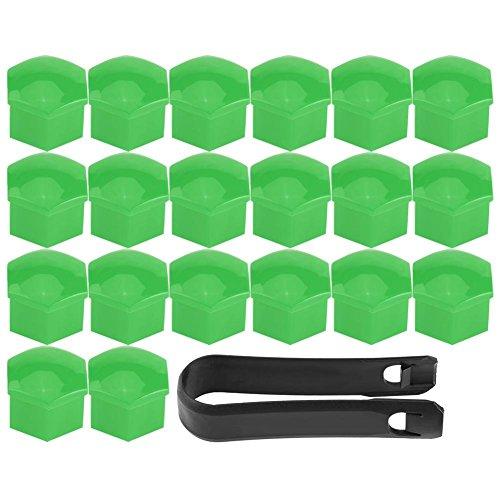 20pcs Écrou de Roue de Jante Coque Pneu Bouchon à Vis Capuchons Protecteur Hexagonal Universelle Moyeu de Pneu 17mm Couvre Ecrou Bouchon de Culasse Multi Couleur en Option (Green)