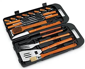 Landmann 13395 Stainless Steel and Bamboo Handle Tool Set in Carry Case (18 Pieces)
