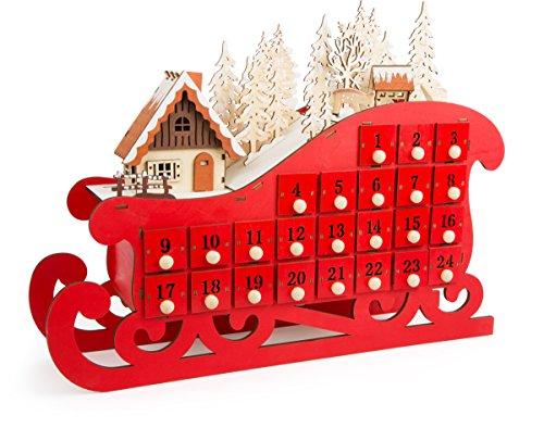 Small Foot 10545 Calendario dell'Avvento Slitta, Legno, Rosso, 45 x 10 x 34 cm