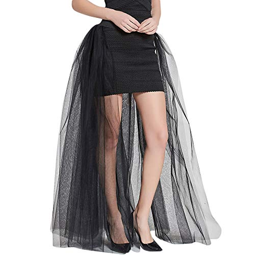 VEMOW Party Cosplay Rock Elegante Damen Solide Mesh Tüllrock Prinzessin Rock Freizeit Casual Täglich Mesh Bubble Rock Party Rock(Schwarz, Freie Größe)