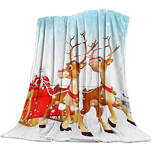 Amanda Walter Leichte gemütliche Bettdecke werfen Fuzzy Super weich und warm werfen Flanelldecken für Couch Schlafsofa Strand Reisen, Frohe Weihnachten Weihnachtsmann Rentier (50 x 60 Zoll) -
