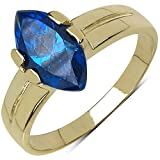 Suraabi 1.92CTW Blue Cubic Zirconia 14K Yellow Gold Plated Brass Ring For Women Size 6