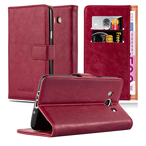 Preisvergleich Produktbild Cadorabo Hülle für Samsung Galaxy J7 2016 (6) - Hülle in Wein ROT – Handyhülle im Luxury Design mit Kartenfach und Standfunktion - Case Cover Schutzhülle Etui Tasche Book