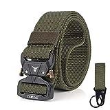 TENINE Cinturón Táctico, Cinturón Militar de Nailon de 1.5 Pulgadas Táctico Resistente con Correa de Metal de Liberación Rápida Para Equipo EDC Molle Táctica Cinturón (Ejercito Verde 02)