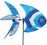 XL Windrad / Windspiel - ' blauer Fisch ' - mit Spieß - 140 cm - auch als Windrichtungsanzeiger - wetterfest & wasserfest - UV beständig - Windmühle Windräder - für Außen Windspiele - Fische / Unterwasser Wal Delfin - Tierfigur / Ozean Meer Strand