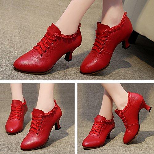PENGFEI Tanzschuhe Schuhe Lateinischer Tanz Stiefeletten Frühling Und Sommer Mittlerer Absatz Atmungsaktiv Erwachsene Damen 2 Farben (Farbe : Rot, größe : EU39/UK6/L:245mm) - 3