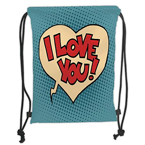 (Trsdshorts Drawstring Backpacks Bags,I Love You,Pop Art Style Retro Comic Strip Love Bubble Artistic Cartoon Graphic Decorative,Petrol Blue Red Ivory Soft Satin,5 Liter Capacity,Adjustable St)
