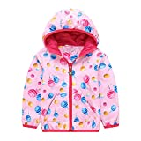 GGBaby@ Kinder Jacke Mädchen Leicht + Wasserdicht + Winddicht + UV-Schutz Kinder Jacket mit Kapuze Windjacke Sportjacke Outdoor Funktionsjacke Pink 110-116