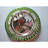PRAMUKH STORE Designer Silver Puja Thali / Rakhi Platter / Tilak Thali With Two Katoris, Peacock Thali, Puja Thali In Red Color, Decorative Thali, Designer Thali Set, Colorful Decorative Thali, Designer Thali With Two Katoris