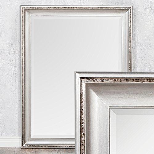 LEBENSwohnART Spiegel COPIA 70x50cm Silber-Antik Wandspiegel Barock Holzrahmen und Facette