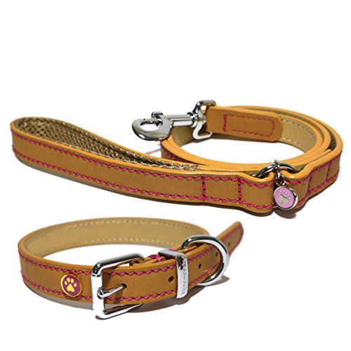 Rosewood-Luxury-Leather-Dog-Collar-14-18-inch-Tan