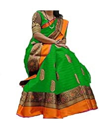 F 4 FASHION Women's Cotton Silk Latest Design Wedding Collection Saree With Blouse Piece (Multi Colors_Free Size)